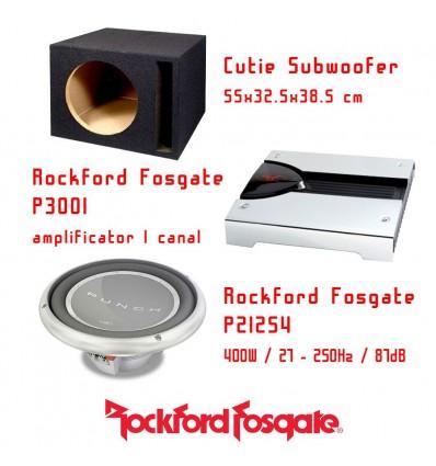 Pachet subwoofer Rockford Fosgate P212S4 Box + Amplificator Rockford Fosgate P3001